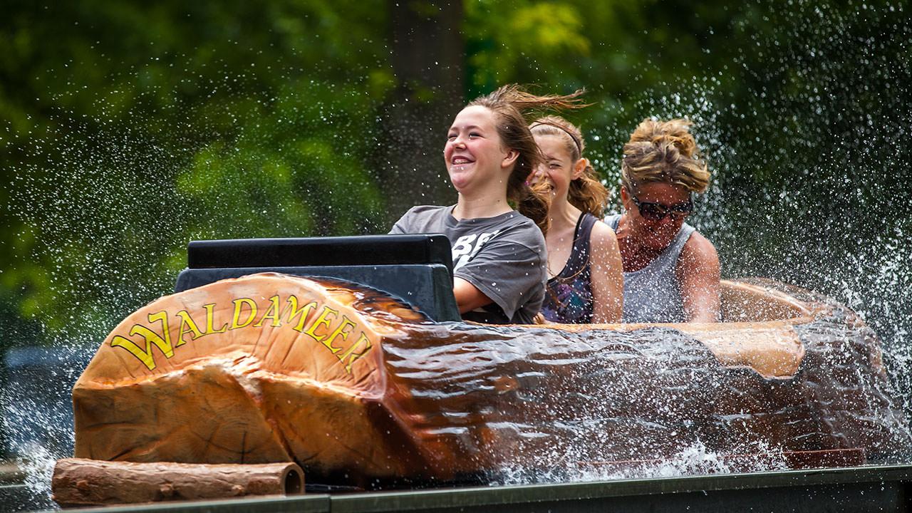 Teens on log flume ride at Waldameer