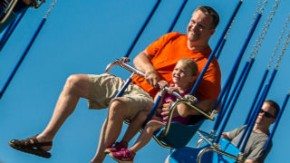 Flying swings family classic ride at Waldameer Amusement Park