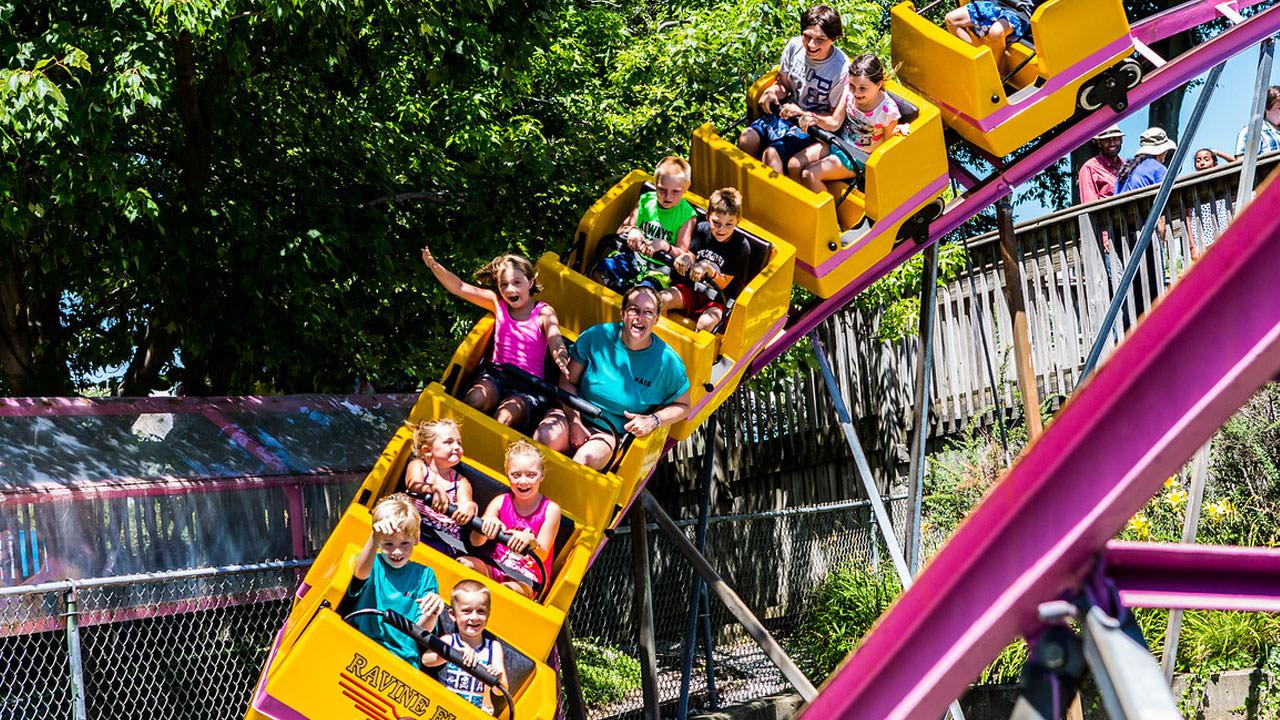 Ravine Flyer III roller coaster at Waldameer Park