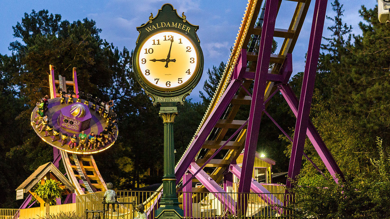 Clock at Waldameer Amusement Park.