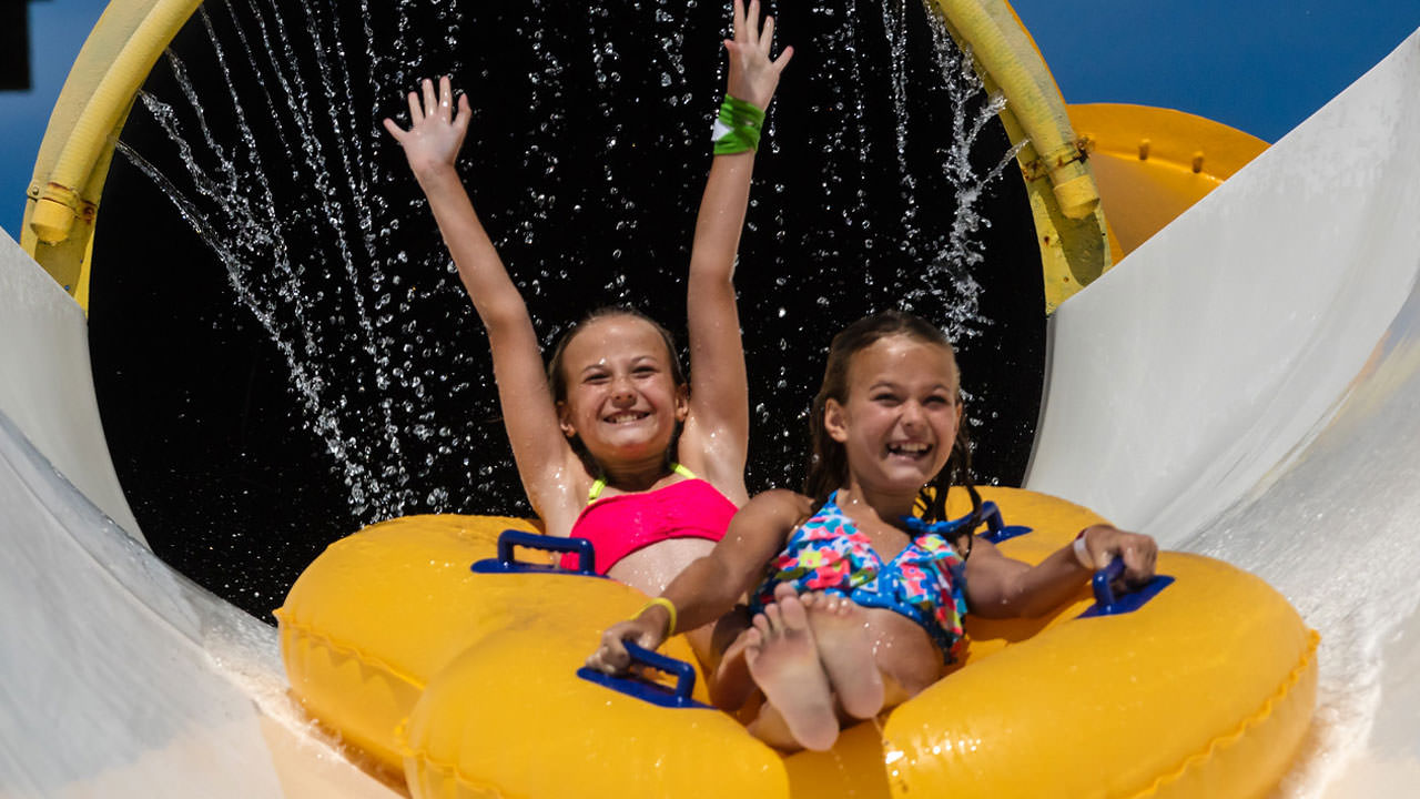 Girls on water slide at Waldameer