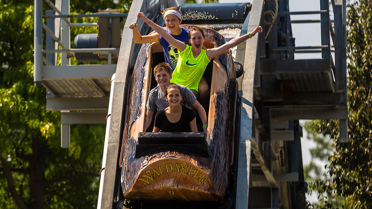 Thunder River log flume ride at Waldameer Park